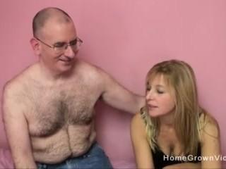Big tit blonde sucks and fucks a creepy older man