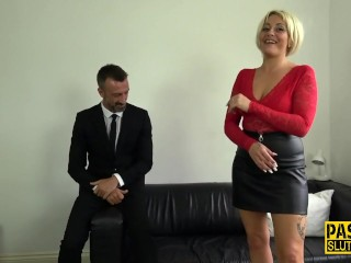 Throat fucked milf sub gets pussy pounded