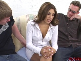 Big booty Sophia oils up for doggystyle big cock threesome