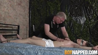 Old master Sebastian Kane sucks and tugs bound twinks cock