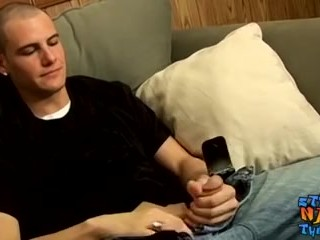 Straight thug with buzz cut strokes massive cock and cums