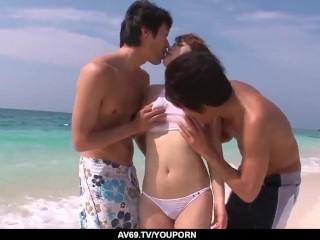 Top cock riding sex and outdoor threesome for Mayuka Akimoto - More at 69avs.com