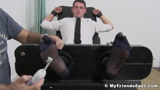 Business gay restrained by foot fetish dominant master