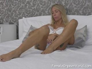 Blonde Tattood MILF with Long Hard Nipples Moans and Masturbates