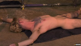 Skinny young gay Jacob Daniels bound and used by horny dom