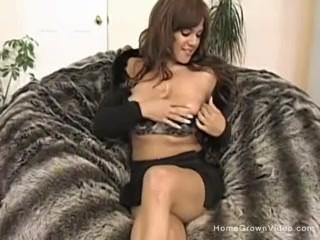 Brunette amateur with big natural tits gets fucked hard