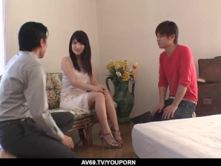 Amateur sex at home with sweet Saki Kobashi on a big dick - More at 69avs.com