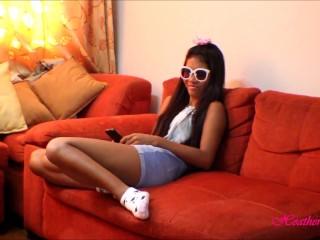 HD tiny thai teen oriental teen get huge facial on glasses