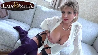 Your Step-Aunt Sonia loves to help you jerk off your cock