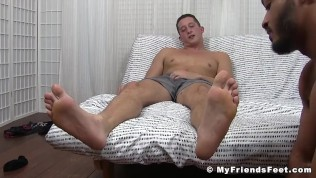 Buff foot fetish hunks play with feet and masturbate