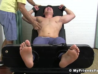 Ebony gay and mature friend tie up and tickle handsome hunk