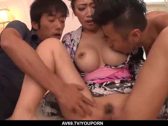 Reiko Kobayakawa Sucks and Fucks Two Horny Men - More at 69avs.Com