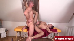 Tight young Stanley barebacked with hunk dick after massage