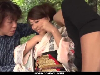 Sensual Japanese threesome with a hottie in kimono - More at javhd.net