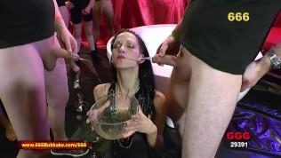 pissed brunette like's hard cock in her sloppy pussy For sure bukkake and pee drinking is her best 666Bukkake