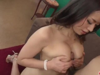 Busty Asian beauty rides the cock in rough modes – More at Japanesemamas.com