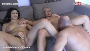MyDirtyHobby – Shy Busty Amateur Has Her First Threesome