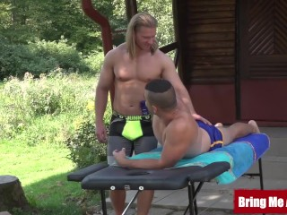 Twink/and/outdoors after massaging daddy off
