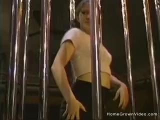 Fucking a cute brunette stripper in the club