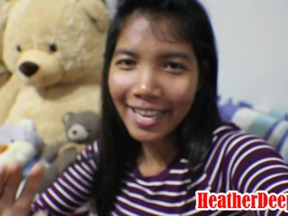 10 Weeks Pregnant Thai Teen Heather Deep gives blowjob and gets cum in mouth and swallows