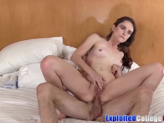 Coed Lily Glee cum sprayed after having all holes fucked