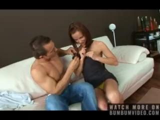Horny redhead teen ride big cock on the sofa