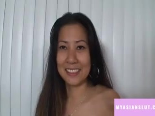 Horny thai brunette girl suck big white dick
