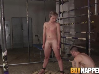 Young man stands still as his cock is jerked off wildly