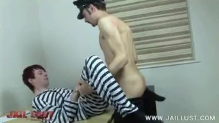 Old warden turns a young inmate into his bitch