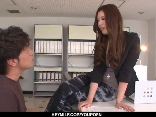 Clothed milf reveals her pussy for the young student - More at Japanesemamas.com