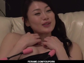 Kyoko Nakajima lands a powerful dick up her tiny holes - More at Slurpjp com