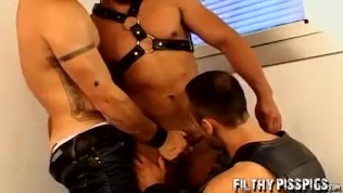 Studs organize an orgy where they piss and bang each other