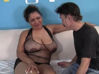 Big tit BBW slut sucks then fucks a dirty old guy