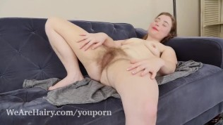 Dawn Honey Crisp has sexy orgasms on her couch