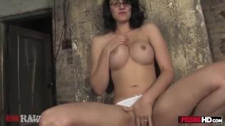 Busty nerdy gamer girl has a secret pee fetish