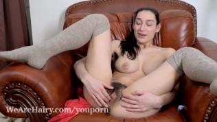 Janetta stays warm by masturbating on her chair