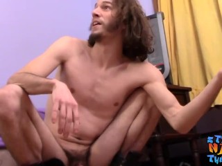 Straight jock with long hair masturbates solo and cums