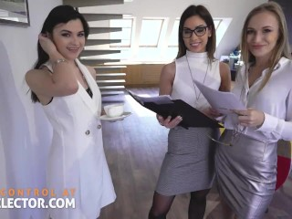 POV Office Sex with Hot Coworkers and Busty Bitch Boss
