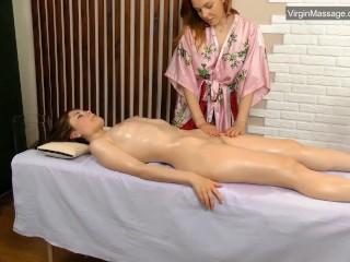 Virgin erotic hottie first massaged through a whore