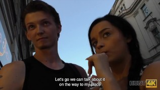HUNT4K. Brunette colleen needs cash for ring and satisfies stranger