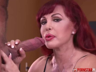 PORNSTARPLATINUM Redhead MILF Sexy Vanessa Sucks Huge Cock