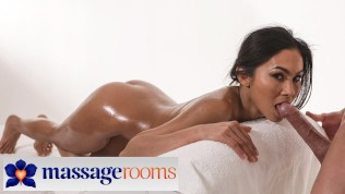 Massage Rooms Petite Asian babe Suzie Q covered in oil and cum after intimate love making