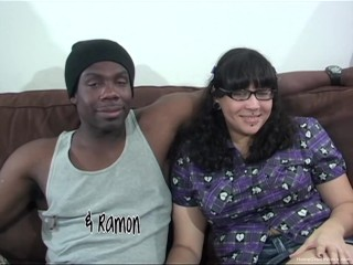 Busty plumper gets dicked down by a big black cock
