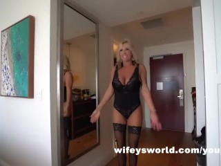 MILF With Huge Tits Sucks Cock Swallows Huge Load