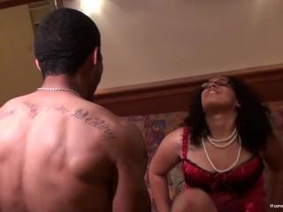 Thick ebony girl rides her boyfriends black dick