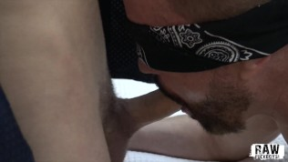 RawFuckBoys – Blindfolded amateur fed cock by kinky jocks in a hotel