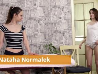 Brunette massages tight brunette teen Nataha Normalek