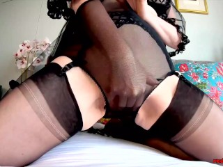 Horny mature Red XXX masturbating and panty stuffing