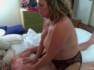 Bubbly blonde BBW gets intimate with her man