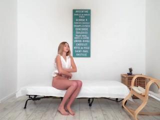 Blonde hairy babe Dora Matrasova massaged